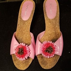 Mina slip on sandals with flower detail